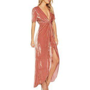 J.O.A. Maxi Dress Twist Front Pink Velvet L